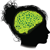 Highlighted human brain within a silhouette of a female head