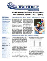 Mental Health and Wellbeing of Students in Leeds, Grenville and Lanark (2013 Update) Report Cover