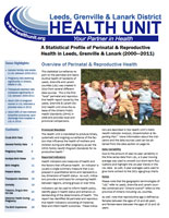 Perinatal and Reproductive Health in Leeds, Grenville and Lanark 2000-2011 Report Cover