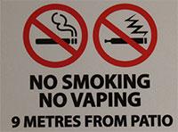 Smoke-Free Signage - No Smoking/No Vaping Patio Signage